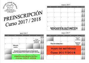 CALENDARIO preinscripción 2017