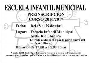 Cartel Preinscripción Escuela Infantil